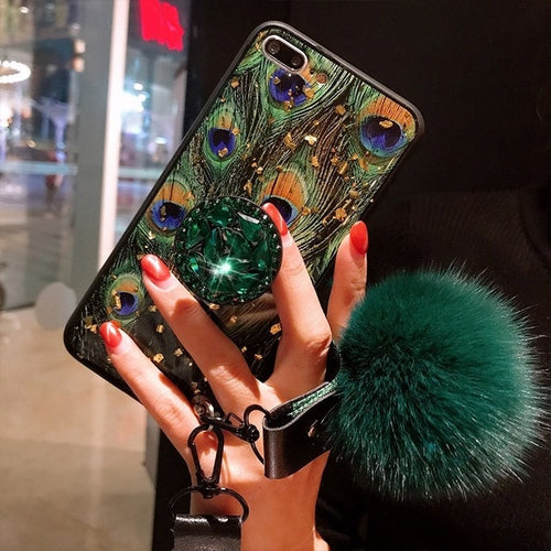 Luxury Green Peacock Feather Hair Ball Diamond Case With Holder and Lanyard For iPhone Series