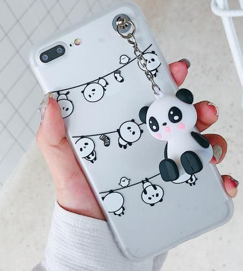 Cute Cartoon Panda Clear Case with Toy Stander for iPhone 6-X