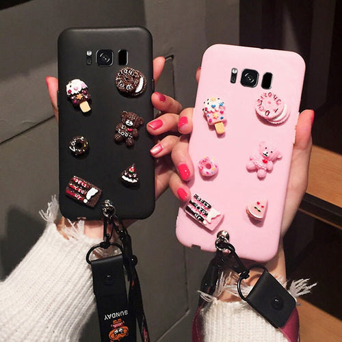 3D Cute DIY Candy Case with Lanyard For Galaxy S6-S9+   Note 9 8