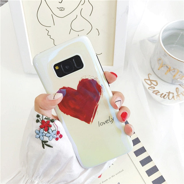 Blu-ray Love Heart Case For Samsung Galaxy S8-S9 Plus Note 8 Note 9