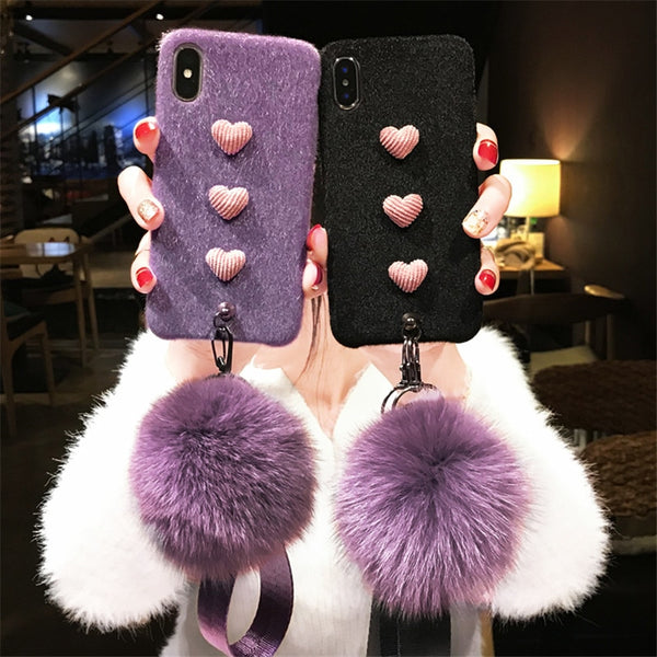 3D Furry Love Hearts Cute Case with Fox Ball Straps For iPhone 6 - XS Max | VIVITODAY
