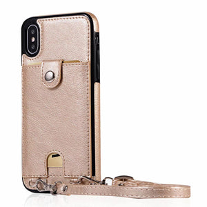 Luxury Card Wallet Case With Shoulder Strap For iPhone Series