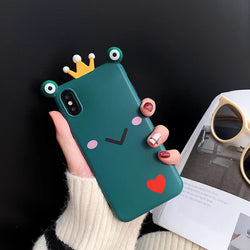 Luxury Cute 3D Funny Animal Frog Big Eyes Crown Case For iPhone Series