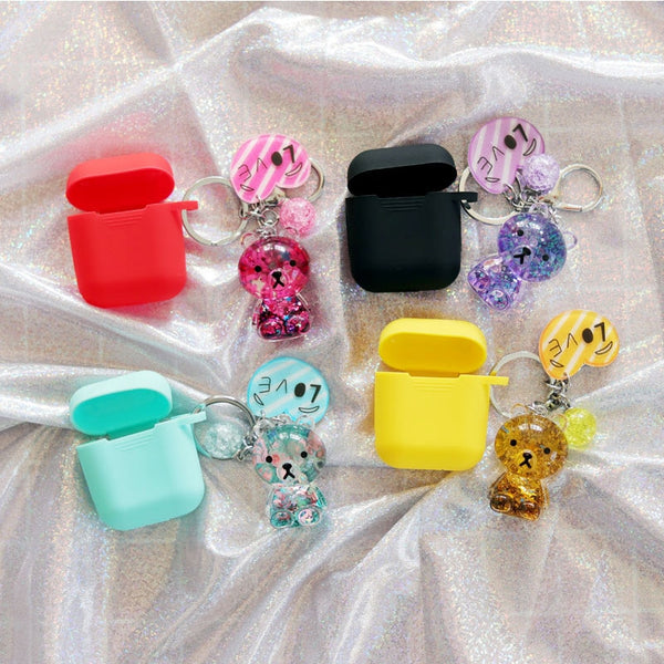 Cartoon Bear Protective Cover With Keychain For AirPods