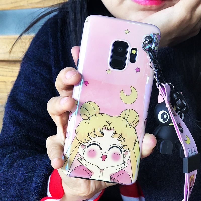 Sailor Moon Case with Luna Cat Kickstand and Strap for Samsung S7-10 Plus Note 8 9 | VIVITODAY
