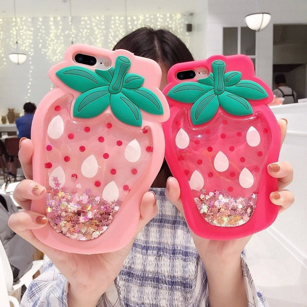 3D Soft Silicone Glitter Pineapple Strawberry Case For iPhone Series