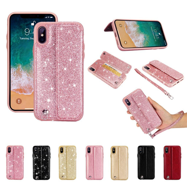 Glitter Leather Card Holder Case for iPhone 5-XS Max XR