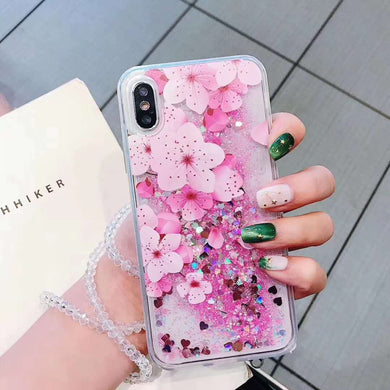 Glitter Quicksand Flower Blossom Case with Hang Rope for iPhone 6-XS Max XR