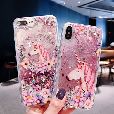 Glitter Quicksand Floral Unicorn Case for iPhone 5-XS Max XR