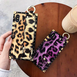 Luxury Metal Square Leopard Print Soft Leather Wrist Band Case For iPhone 6 - XS Max | VIVITODAY