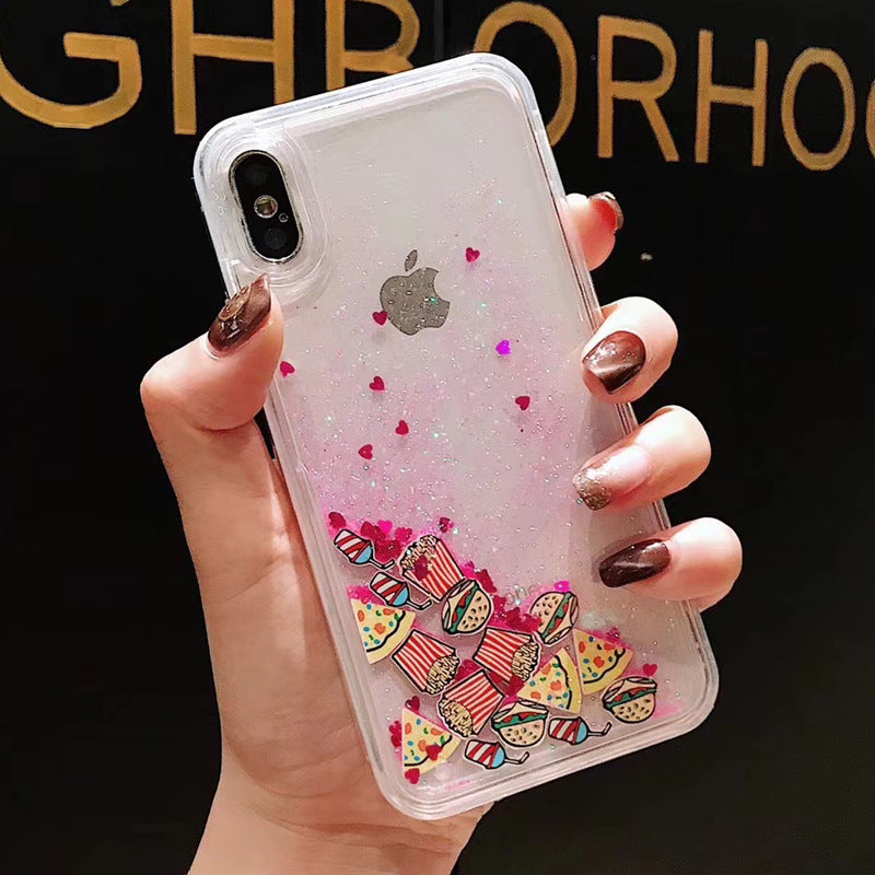 Pink Glitter Quicksand Pizza Fries Case for iPhone 6-X