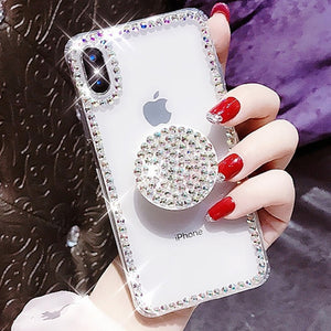 Luxury Bling Diamond Airbag Bracket Clear Case For Samsung S7-S10+ Note 9 8 | VIVITODAY