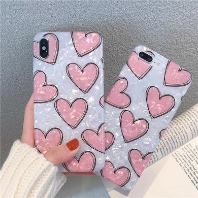 Pink Love Heart Marble Case for iPhone 6-XS Max XR