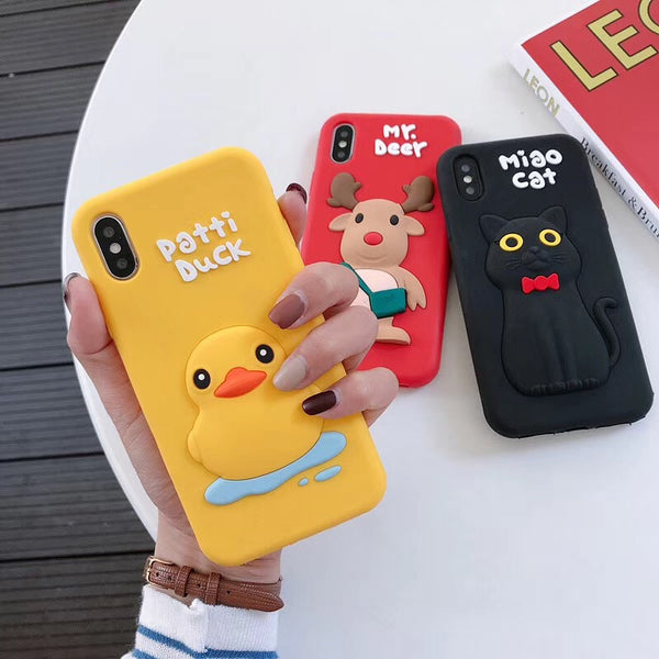 Cartoon Cute Yellow Duck Christmas Reindeer Case For iPhone Series