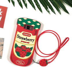 Cute 3D Strawberry Jam Bottle Case With Strap For Samsung Galaxy Series
