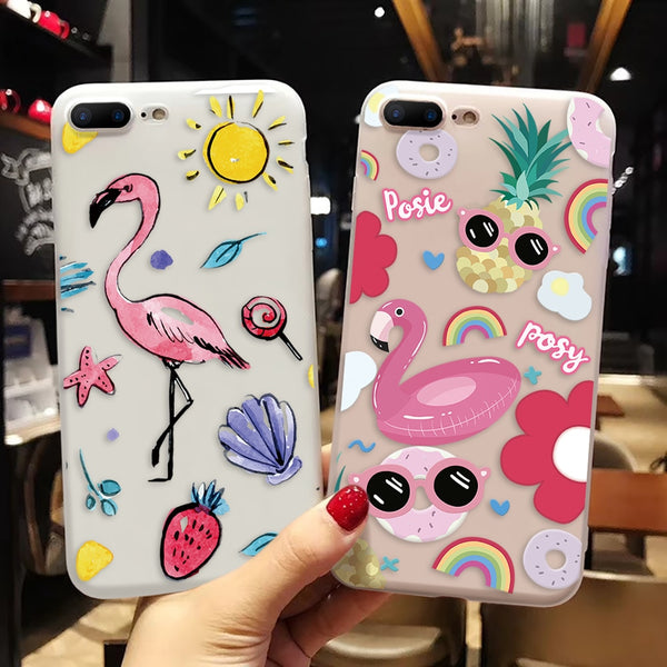Cartoon Matte Flamingo Soft Case For iPhone Series