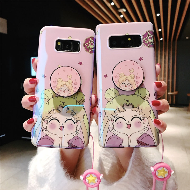 differently e07cc 8a5d3 Sailor Moon Case with Holder and Strap for Samsung S7 Edge S8-S9 Note 8-9