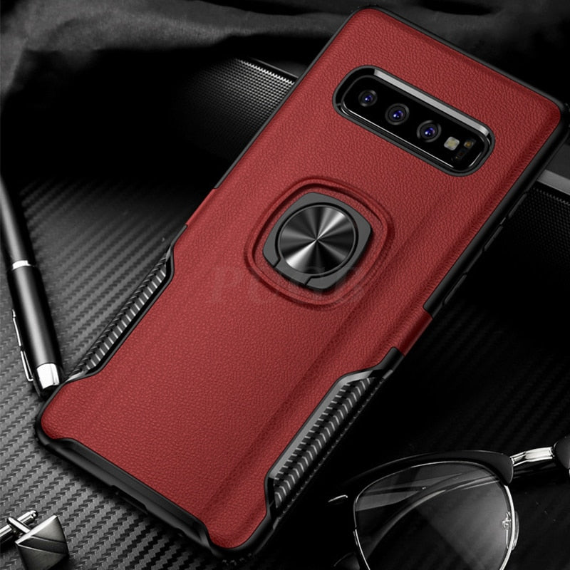 Car Magnetic Leather Texture Case with Ring Holder for Samsung Galaxy Series