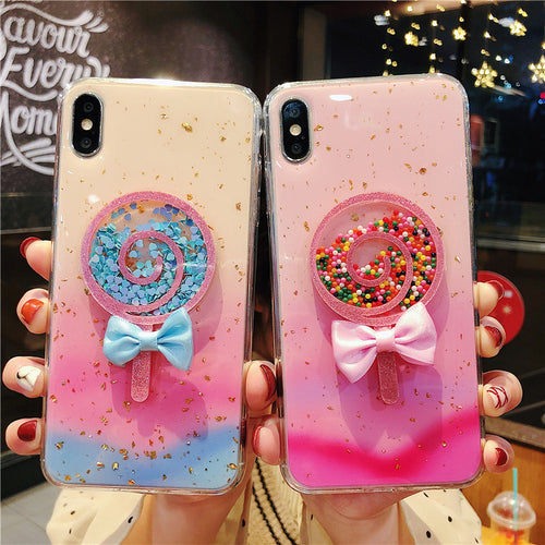 Glitter Gradient Color Lollipop Popsicle Case for iPhone Series