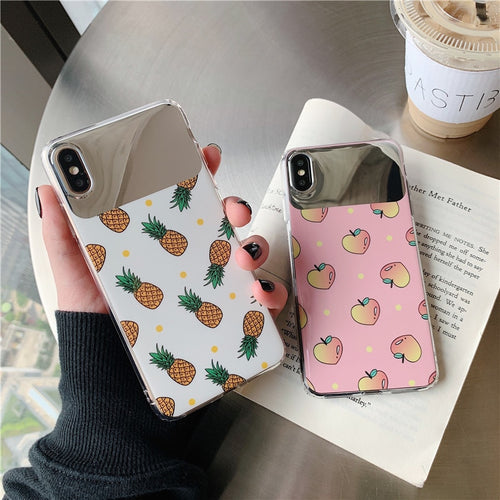 Fashion Glossy Summer Fruit Pineapple Peach Mirror Case For iPhone Series