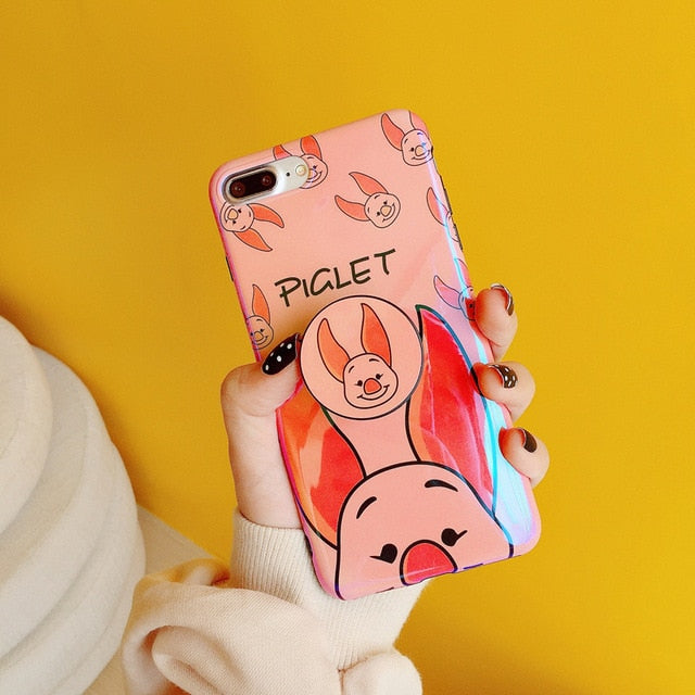 Cute Winnie Stitch Piglet Case With Bracket for iPhone&Samsung | VIVITODAY