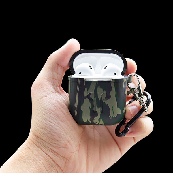Camouflage Protective Cover With Keychain For Airpods