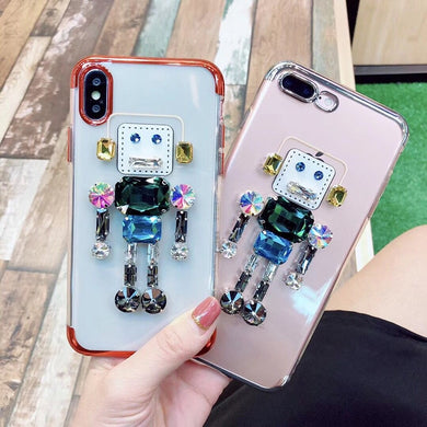 Funny Rhinestone Robot Cases For iPhone Series