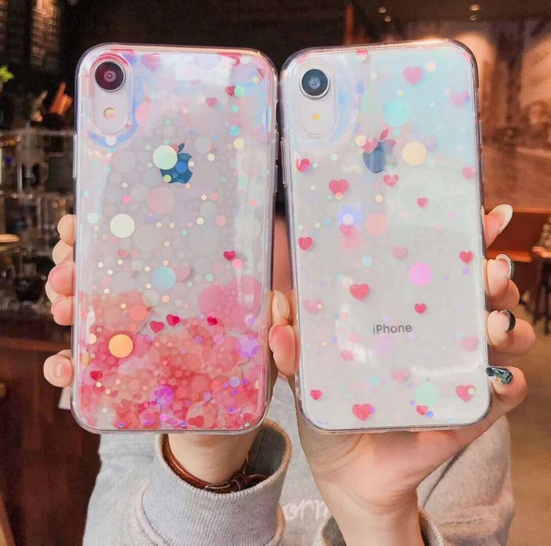 Laser Cute Love Heart Transparent Case For iPhone Series
