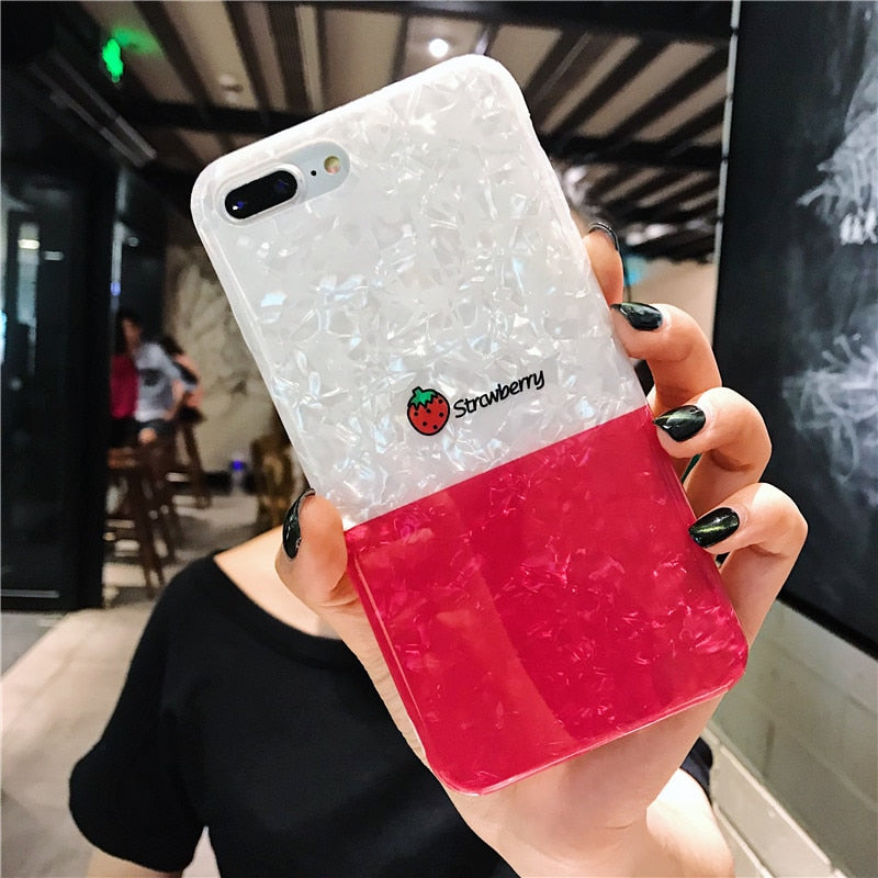 Cute Glossy Marble Fresh Fruit Case For iPhone Series