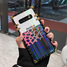 画像をギャラリービューアに読み込む, Laser Gold Rivet Spliced Sexy Leopard Square Case For Samsung Galaxy Series