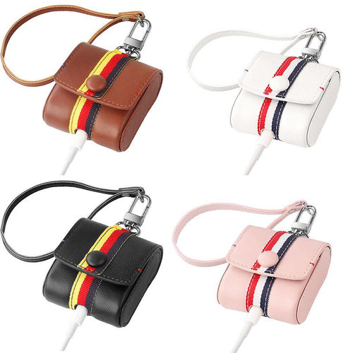 Mini Leather Protective Cover With Anti-loss Hanging Rope For AirPods