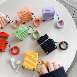 Cute Suitcase Trunk Luggage Protective Cover with Ring Strap For Apple Airpods