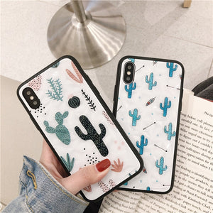 Cute Diamond Cactus Case For iPhone Series