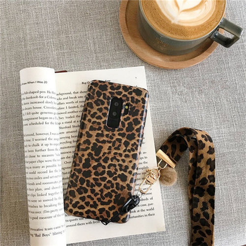 Fashion Leopard Print Case With Lanyard For Samsung Galaxy Series