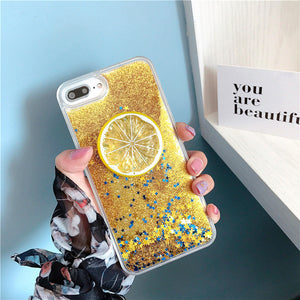 Glitter Liquid Quicksand Fashion Summer Fruit Lemon Strawberry Case For iPhone Series