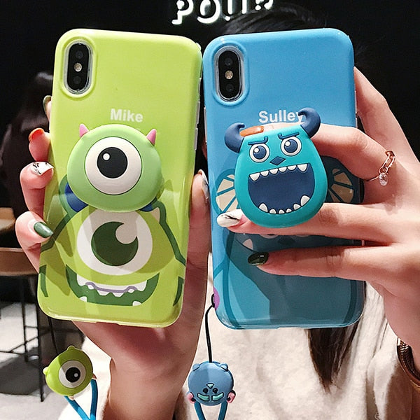 Cute Cartoon Monsters Mike Sullivan Case With Holder + Strap For iPhone Series