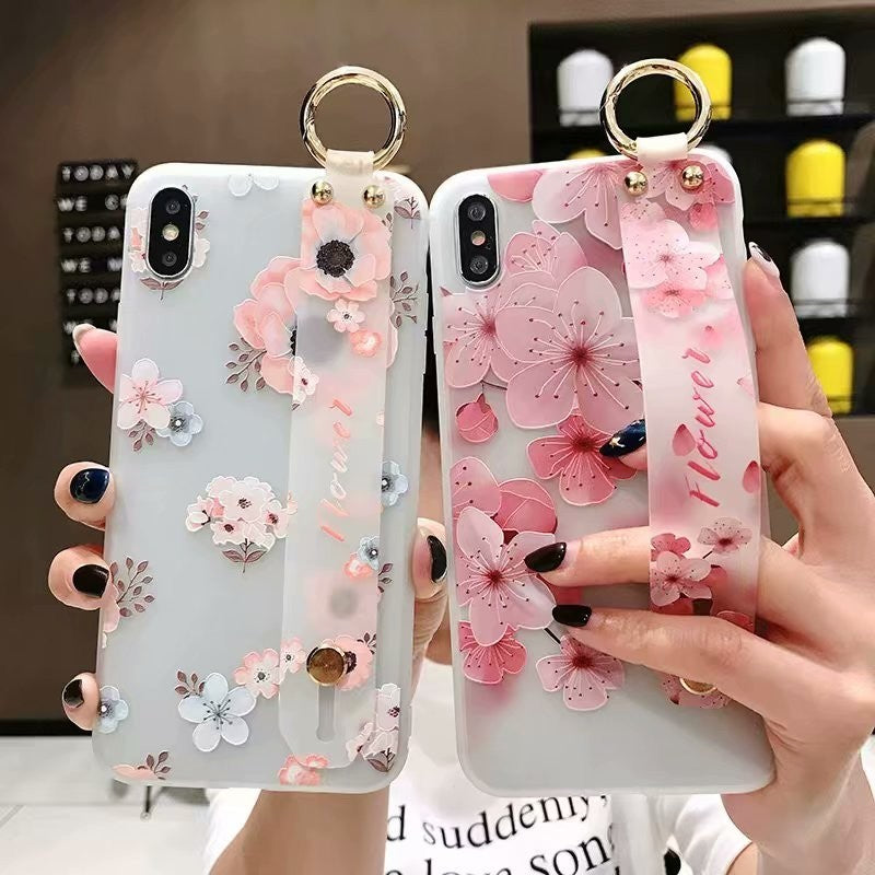 Fashion Fresh Peach Blossom Flower Pattern Case + Wrist Strap For iPhone Series