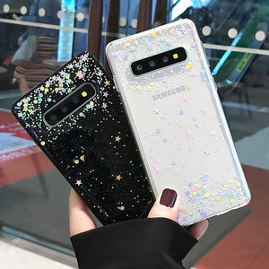 Fashion Colorful Bling Paillettes Stars Clear Case For Samsung Galaxy Series