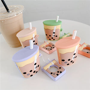 Cartoon Pearl Milk Tea Protective Case With Finger Ring Strap For AirPods