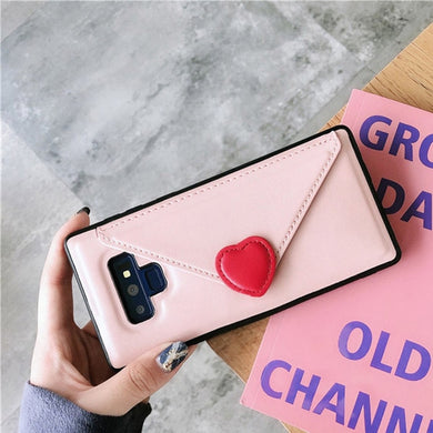 Fashion Leather Love Heart Case With Card Wallet For Samsung Galaxy Series