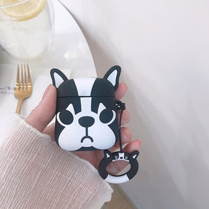 3D Cute Puppy Dog Case With Finger Ring Strap For AirPods