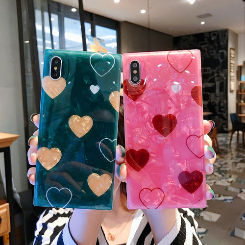 Glossy Luxury Cute Shell Pattern Love Heart Case For iPhone Series