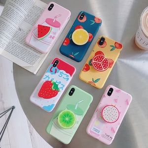 Cute Summer Fruit Case With Holder For iPhone Series
