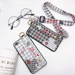 Fashion Lattice Printing Love Case With Wrist Strap and Lanyard For iPhone Seires