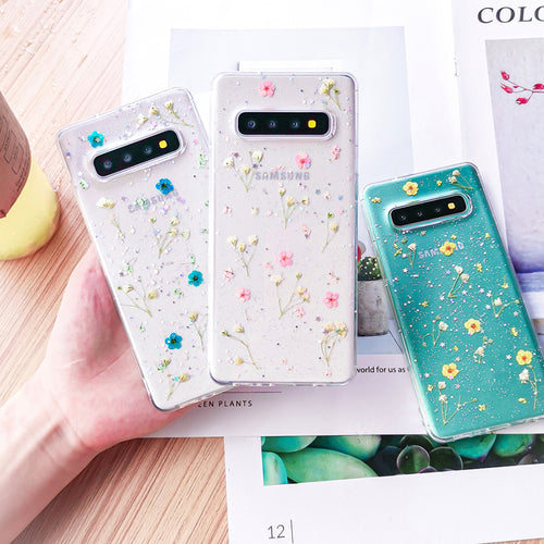 Fashion Transparent Shining Glitter Dried Flower Case For Samsung Galaxy Series