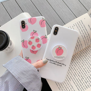Fashion Peach Fruit Case With Bracket For iPhone Series