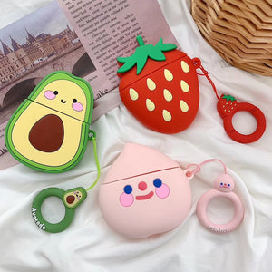 Cartoon 3D Fruit Peach Strawberry Avocado Case With Finger Ring Strap For AirPods