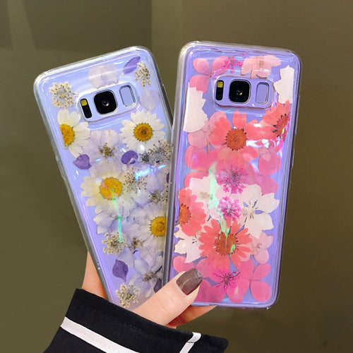 Fashion Dried Real Flowers Handmade Clear Pressed Case For Samsung Galaxy Series