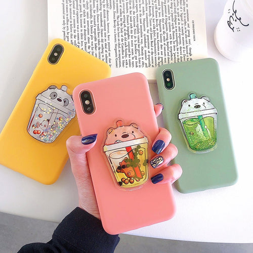 Glitter Quicksand Cute Cartoon 3D Bear Case For iPhone Series