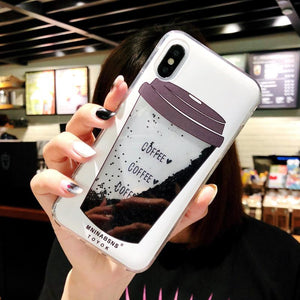 Glitter Fashion Liquid Quicksand Coffee Case For iPhone Series